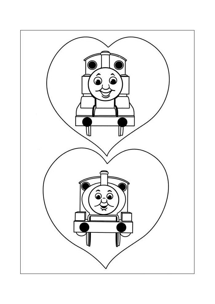 Thomas de trein - twee treintjes in hartjes
